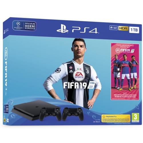 Sony PlayStation 4 SLIM 1TB + FIFA 19 + DualShock 4 černý