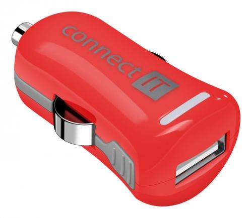Connect IT InCarz COLORZ 1xUSB, 2,1A (V2) červený