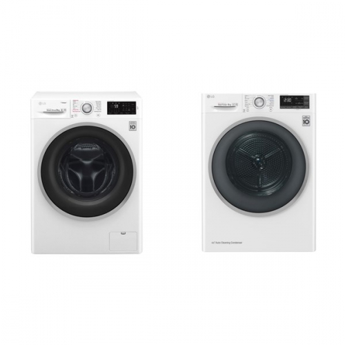 Set (Automatická pračka LG F84J6TY1W) + (Sušička prádla LG RC81U2AV3W)