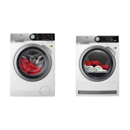 Set (Sušička prádla AEG AbsoluteCare® T8DEA68S) + (Automatická pračka AEG SoftWater L9FEA69S)