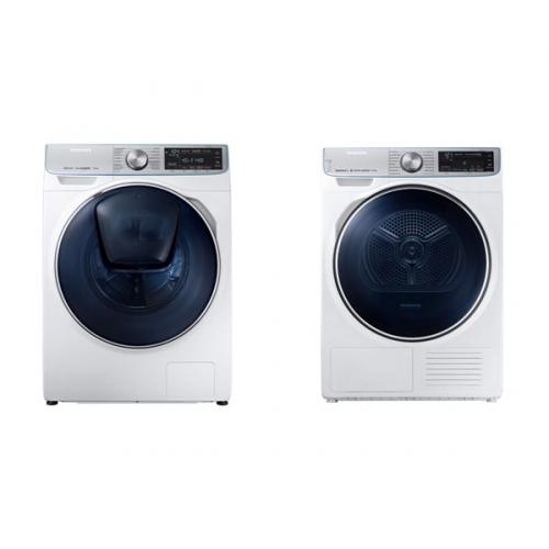 Set (Automatická pračka Samsung Quick Drive™ WW90M740NOA/ZE) + (Sušička prádla Samsung DV90N8287AW/ZE)