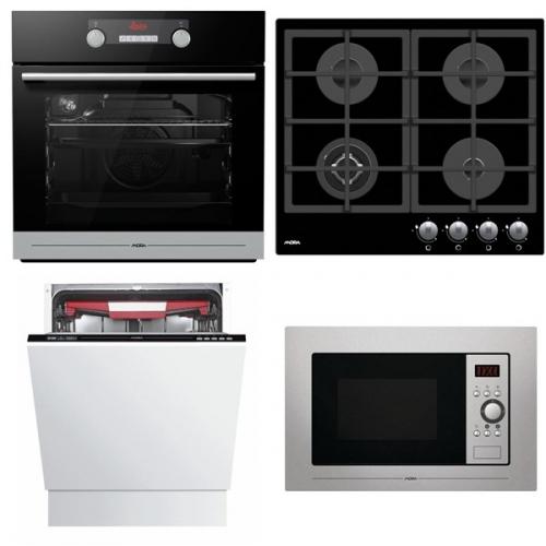 Set (Plynová varná deska Mora VDP 645 GB1) + (Mikrovlnná trouba Mora VMT 312 X) + (Trouba Mora VT 548 BX) + (Myčka nádobí Mora IM 651)