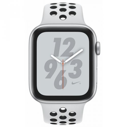 Apple Series 4 GPS 44mm pouzdro ze stříbrného hliníku - platinový/černý sportovní řemínek Nike