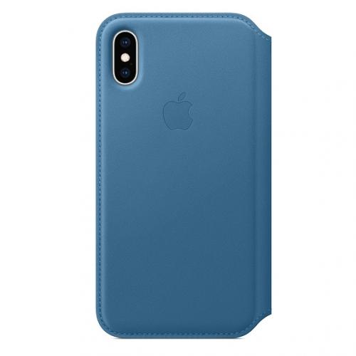 Pouzdro na mobil flipové Apple Leather Folio pro iPhone Xs - modrošedé + DOPRAVA ZDARMA