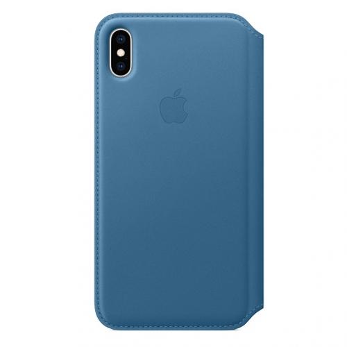 Pouzdro na mobil flipové Apple Leather Folio pro iPhone Xs Max - modrošedé + DOPRAVA ZDARMA
