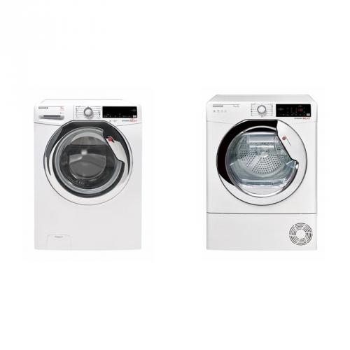 Set (Sušička prádla Hoover DXW4 H7A1TCEX-S) + (Automatická pračka Hoover DXOA4 37AHC3/1-S) + DOPRAVA ZDARMA
