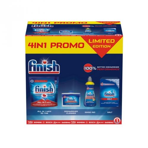 Příslušenství k myčce Finish BOX 4 v 1 - Finish Allin1 Max 50ks + Čistič myčky 250ml + Leštidlo Lemon 400ml + Sůl 1,5kg