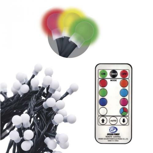 EMOS 96 LED 10m, řetěz – kuličky, červ./zel./mod., ovladač, programy