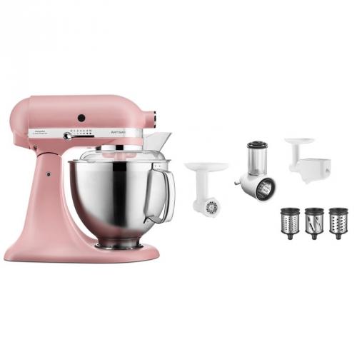 Set (Příslušenství k robotům KitchenAid 5KSMFPPC) + (Kuchyňský robot KitchenAid Artisan 5KSM185PSEDR)