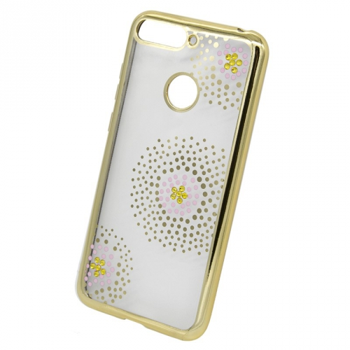 Kryt na mobil Beeyo Flower Dots pro Huawei Y6 Prime (2018) zlatý