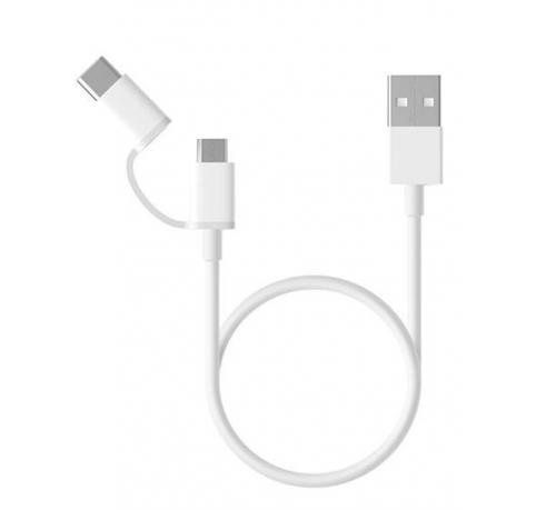 Kabel Xiaomi 2v1 USB/Micro USB + USB-C, 1m bílý