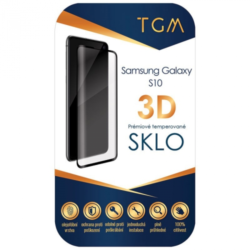 Ochranné sklo TGM 3D na Samsung Galaxy S10 černé