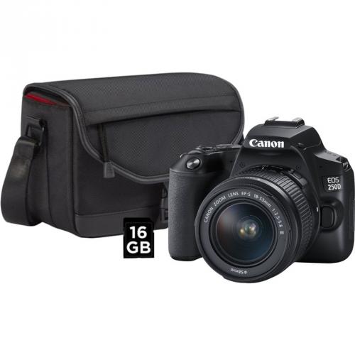 Digitální fotoaparát Canon EOS 250D + 18-55 + SB130 + 16GB karta černý