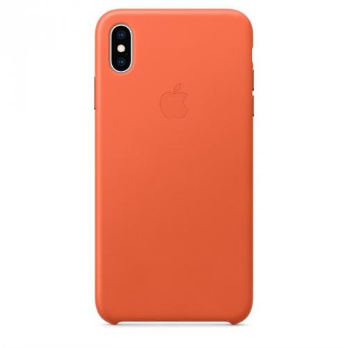 Kryt na mobil Apple Leather Case pro iPhone Xs Max - temně oranžový
