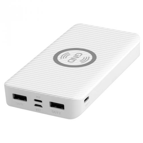 Powerbank GND 10000 mAh, bezdrátové nabíjení 5W, USB-C, Lightning bílá