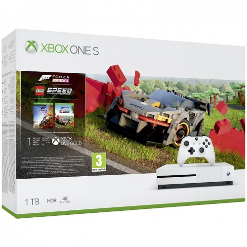 Herní konzole Microsoft Xbox One S 1 TB + Forza Horizon 4 + DLC LEGO Speed Champions