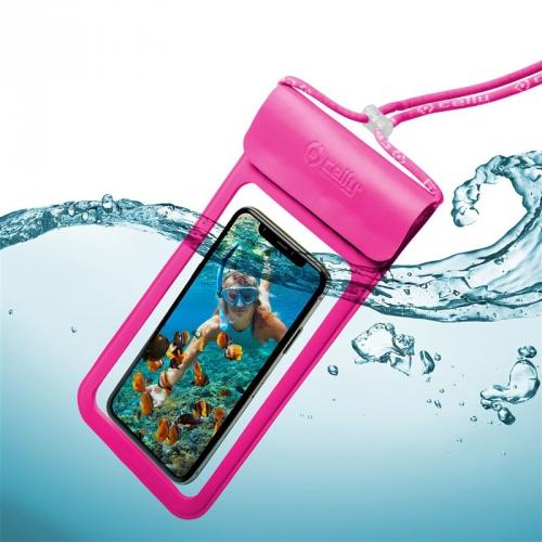 """Pouzdro na mobil sportovní Celly Splash Bag voděodolné pro 6,5"""" růžové"""