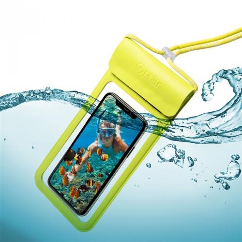 """Pouzdro na mobil sportovní Celly Splash Bag voděodolné pro 6,5"""" žluté"""