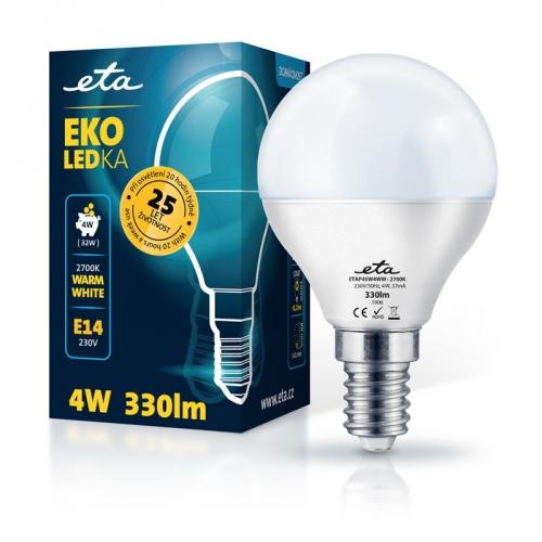 Žárovka LED ETA EKO LEDka mini globe 4W, E14, teplá bílá