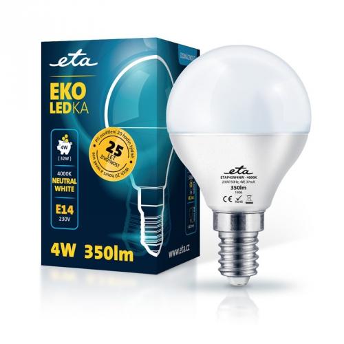 Žárovka LED ETA EKO LEDka mini globe 4W, E14, neutrální bílá