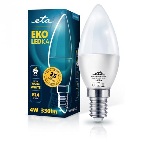 Žárovka LED ETA EKO LEDka svíčka 4W, E14, teplá bílá