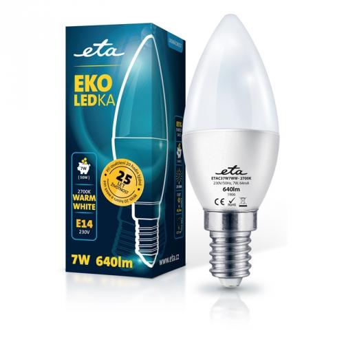 Žárovka LED ETA EKO LEDka svíčka 7W, E14, teplá bílá
