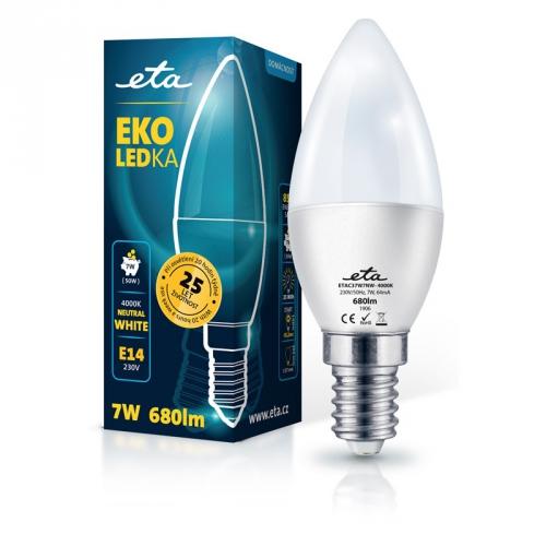 Žárovka LED ETA EKO LEDka svíčka 7W, E14, neutrální bílá