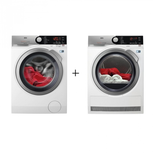 Set (Sušička prádla AEG AbsoluteCare® T8DFE68SC) + (Pračka AEG ProSteam® L7FBE69SCA s funkcí AutoDose)