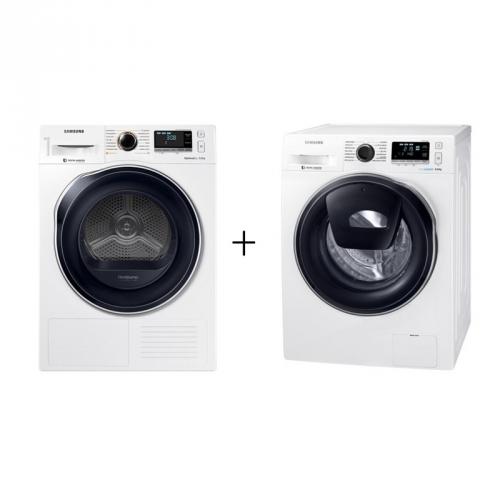 Set (Sušička prádla Samsung DV90M6200CW/ZE) + (Pračka Samsung WW80K6414QW/LE)