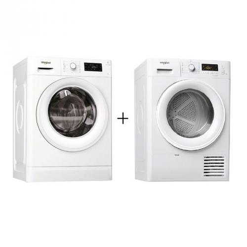 Set (Pračka Whirlpool FreshCare+ FWG81284W EU) + (Sušička prádla Whirlpool Fresh Care FT M11 8X3 EU)
