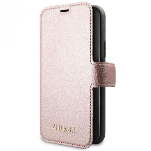 Pouzdro na mobil flipové Guess Iridescent Book pro Apple iPhone 11 růžové