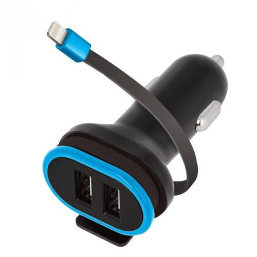 Adaptér do auta Forever CC-02, 2x USB, lightning kabel černý
