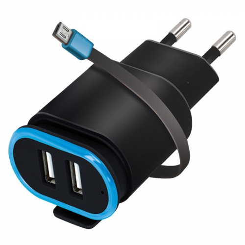 Nabíječka do sítě Forever TC-02, 2x USB, micro USB kabel černá