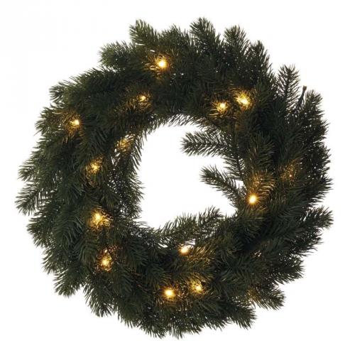 EMOS vánoční věnec, 40cm, 2× AA, vnitřní, teplá bílá