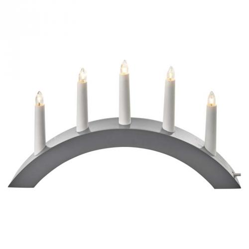 EMOS svícen na 5× žárovičku E10 dřevěný šedý, 40×28cm