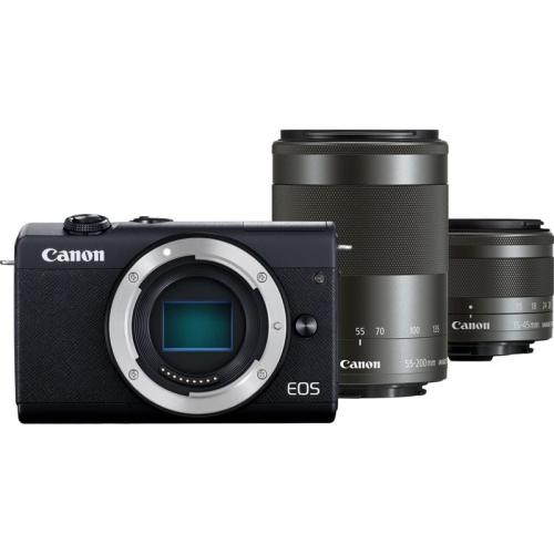 Digitální fotoaparát Canon EOS M200 + EF-M 15-45 IS STM + EF-M 55-200 IS STM černý