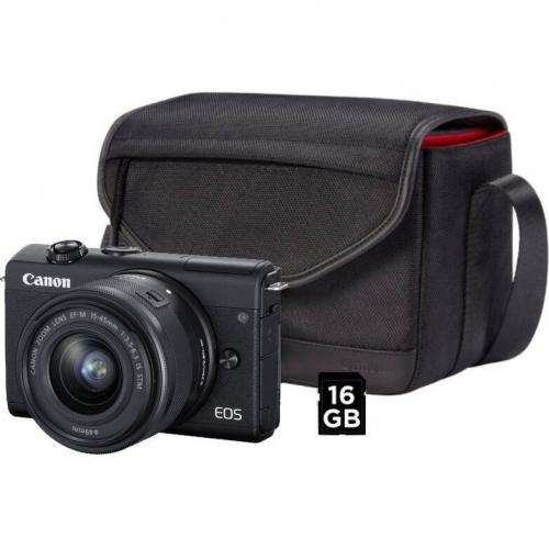 Digitální fotoaparát Canon EOS M200 + EF-M 15-45 IS STM + SB130 + 16 GB karta černý