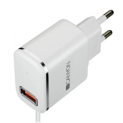 Nabíječka do sítě Canyon 1x USB, Lightning kabel 1m bílá