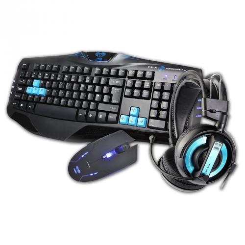 Klávesnice s myší E-Blue Cobra s headsetem černá/modrá