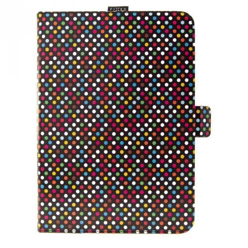 "Pouzdro na tablet flipové FIXED Novel na tablety 10,1"" s kapsou pro stylus- Rainbow Dots"