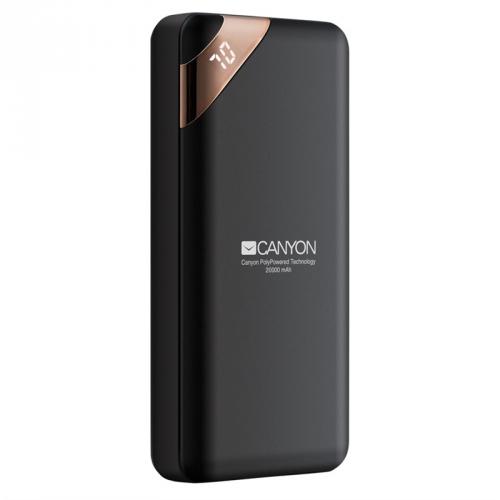 Powerbank Canyon 20000 mAh, USB-C, s digitálnim displejem černá