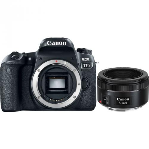 Set (Paměťová karta Sandisk Micro SDXC Extreme 64GB, A2, UHS-I U3 (160R/60W) + adapter) + (Objektiv Canon EF 50 mm f/1.8 STM) + (Digitální fotoaparát Canon EOS 77D tělo)