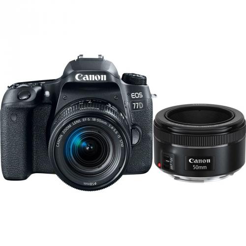 Set (Objektiv Canon EF 50 mm f/1.8 STM) + (Digitální fotoaparát Canon EOS 77D + 18-55 IS STM)