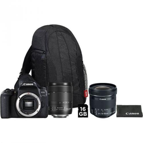Set (Objektiv Canon EF-S 10-18 mm f/4.5-5.6 IS STM + EW73C + LC kit ) + (Digitální fotoaparát Canon EOS 77D + 18-135 IS USM + VUK)