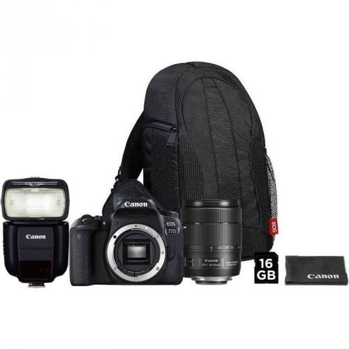 Set (Digitální fotoaparát Canon EOS 77D + 18-135 IS USM + VUK) + (Blesk Canon Speedlite 430EX III-RT)