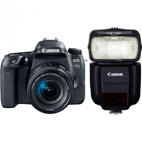 Set (Digitální fotoaparát Canon EOS 77D + 18-55 IS STM) + (Blesk Canon Speedlite 430EX III-RT)