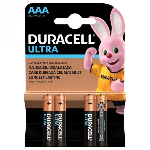 Baterie alkalická Duracell Ultra AAA, LR03, 1.5V, blistr 4ks