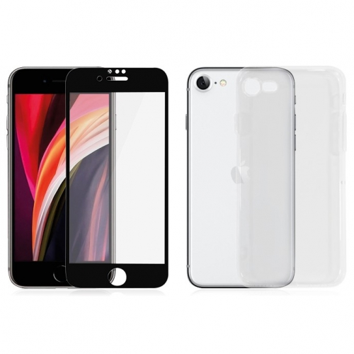 PanzerGlass Edge-to-Edge na Apple iPhone 6/6s/7/8/SE (2020) + kryt na mobil Clear Case