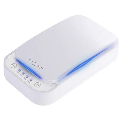 UV sterilizátor FIXED pro mobilní telefony, bezdrátové nabíjení bílý