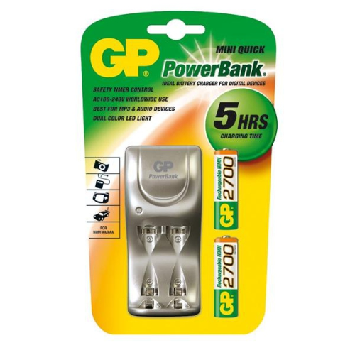GP PowerBank PB25GS pro AA, AAA + 2x GP270AAHC stříbrná
